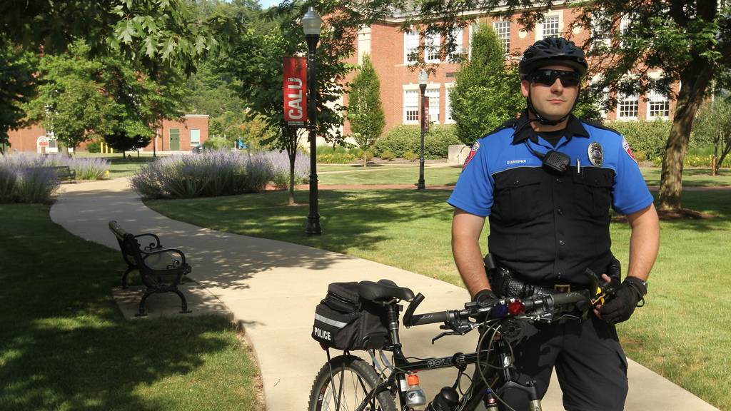 A Cal U bicycle police officer makes sure Cal U campus is safe.