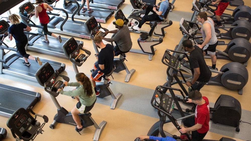 Cal U students use cardio machines in Herron Fitness Center.