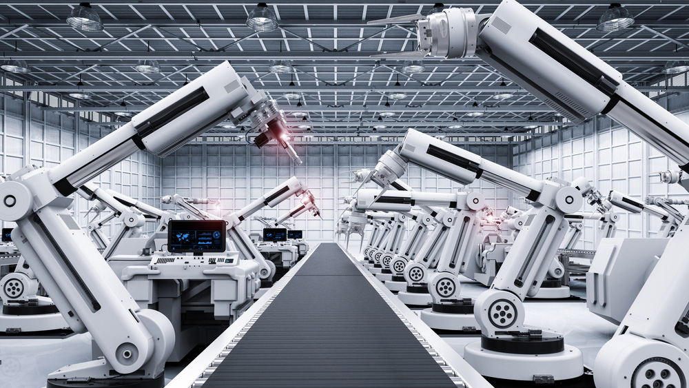 Robotics arms in factory.