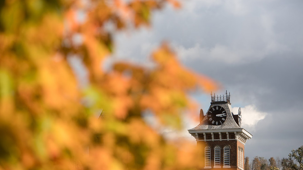 Old Main during fall on Cal U's campus.
