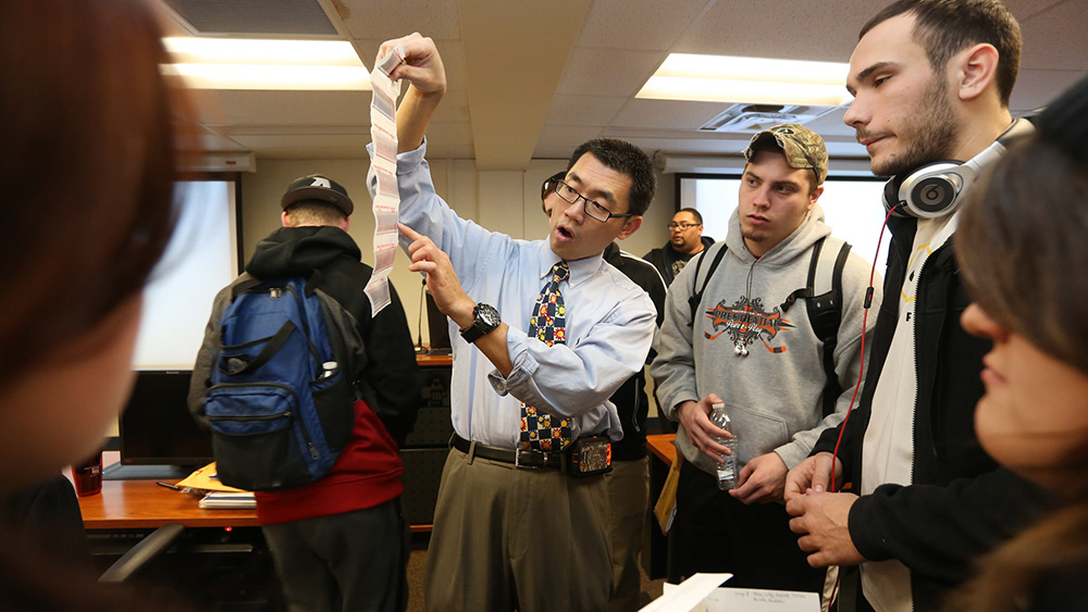 A Cal U professor instructs his students in the field of Homeland Security.