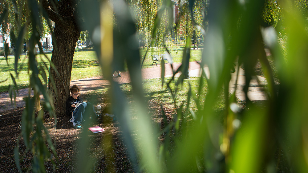 A student sits on campus