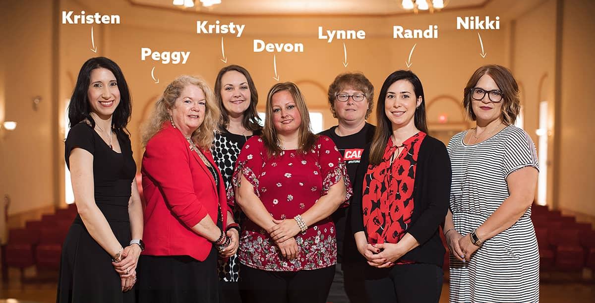 Grad and Online admissions team. From left to right: Kristen, Peggy, Kristy, Devon, Lynne, Randi, Nikki