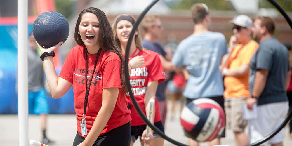 A Cal U student enjoying Welcome Weekend.
