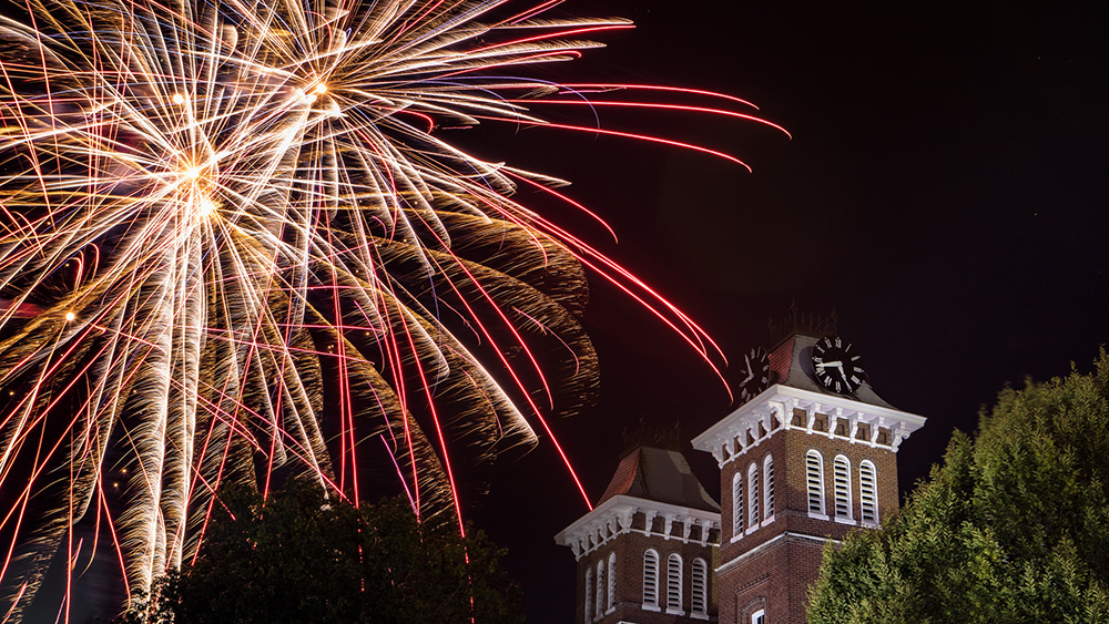 Fireworks above Old Main.