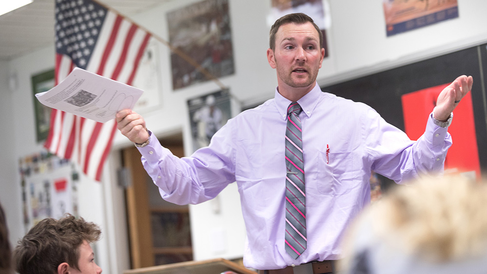 A former Cal U student teaches in a classroom