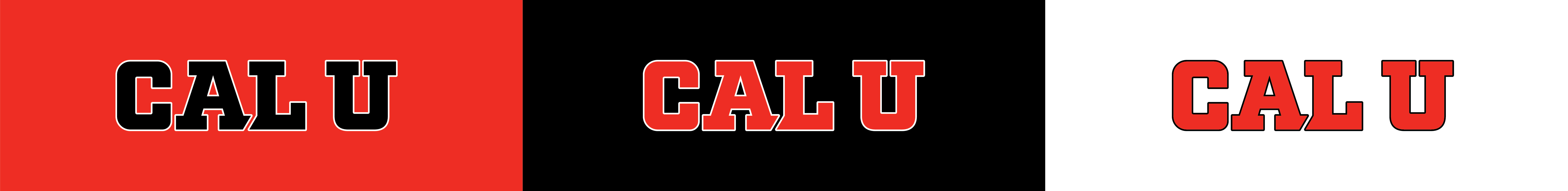 """Cal U Logo"" on red, black and white background."