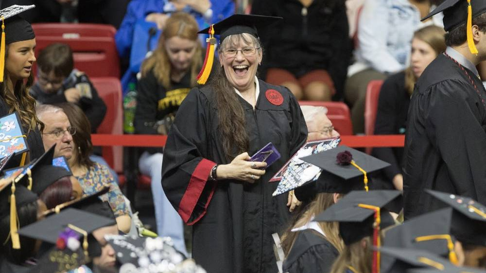 A Cal U student celebrates during Commencement.