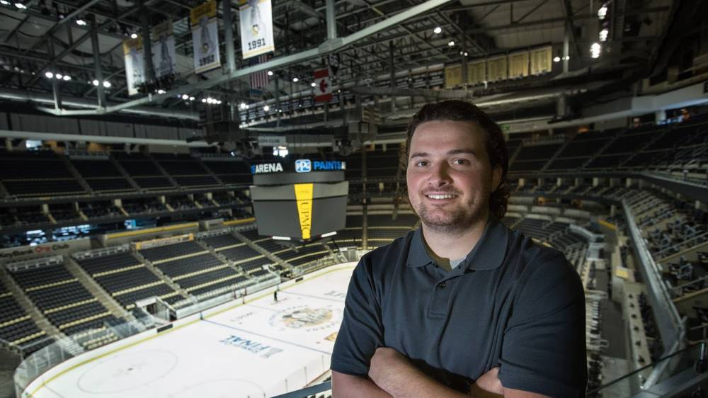 A Cal U student working with the Pittsburgh Penguins.