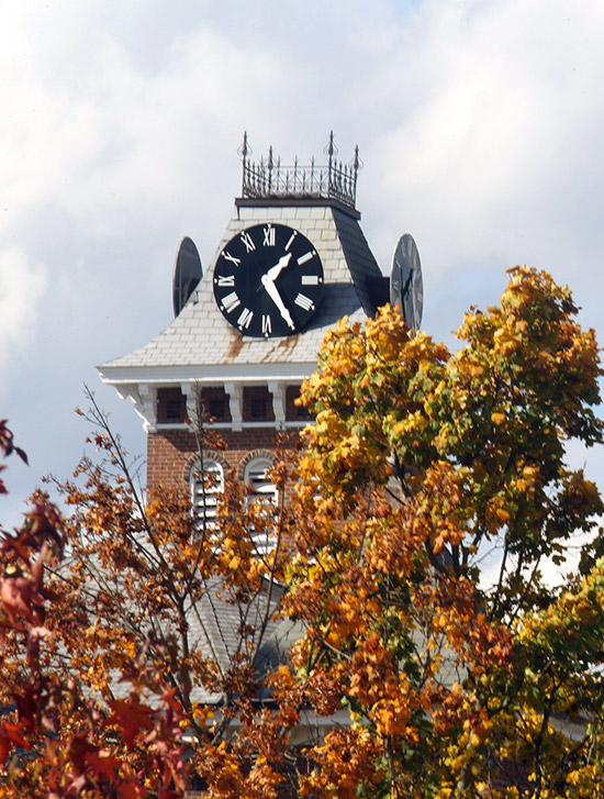 Clock tower at Old Main.