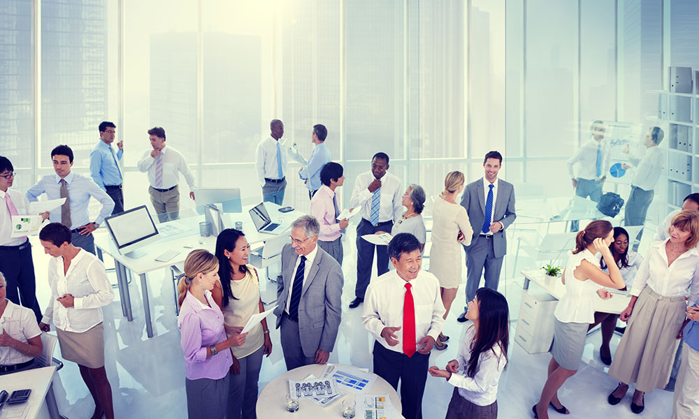 Group of businesspeople at a networking event.