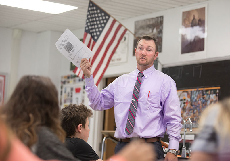 Cal U education major Brandon Kash student teaches at Belle Vernon Middle School.