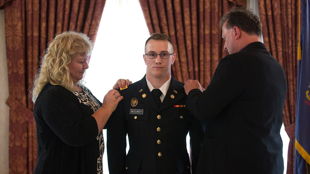 A Cal U military student gets pinned on campus.