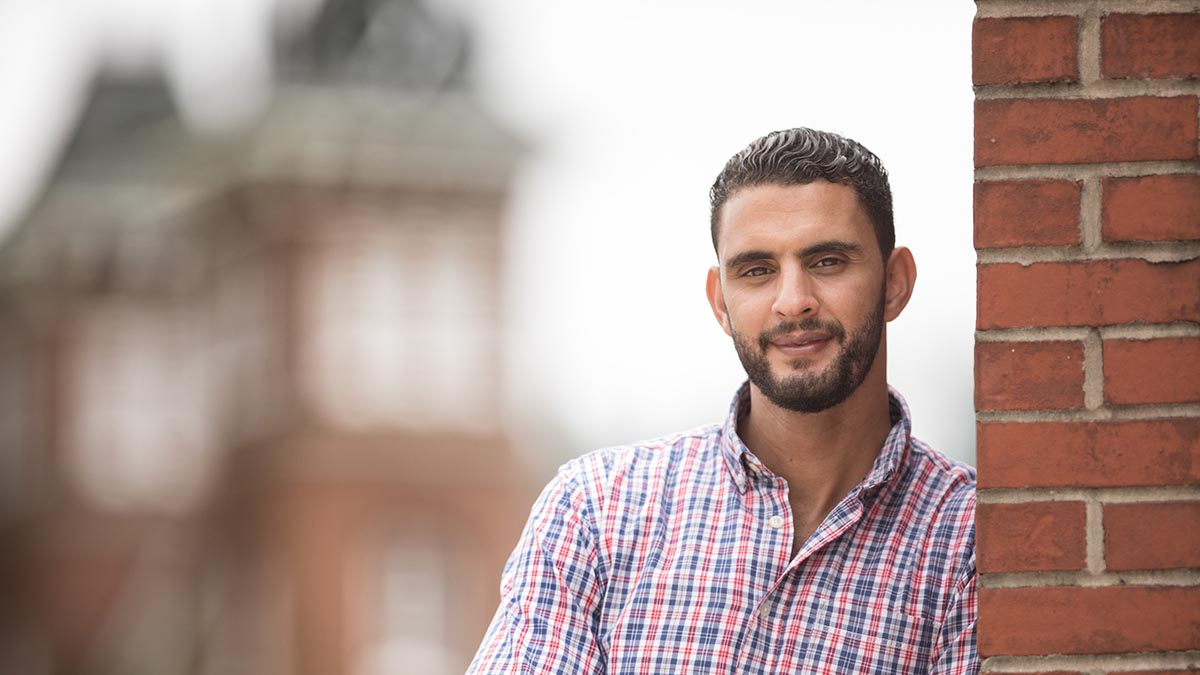 Fulbright Teaching Assistant Oussama Alaoui Ismaili, from Morocco, to help Cal U students with foreign language development.