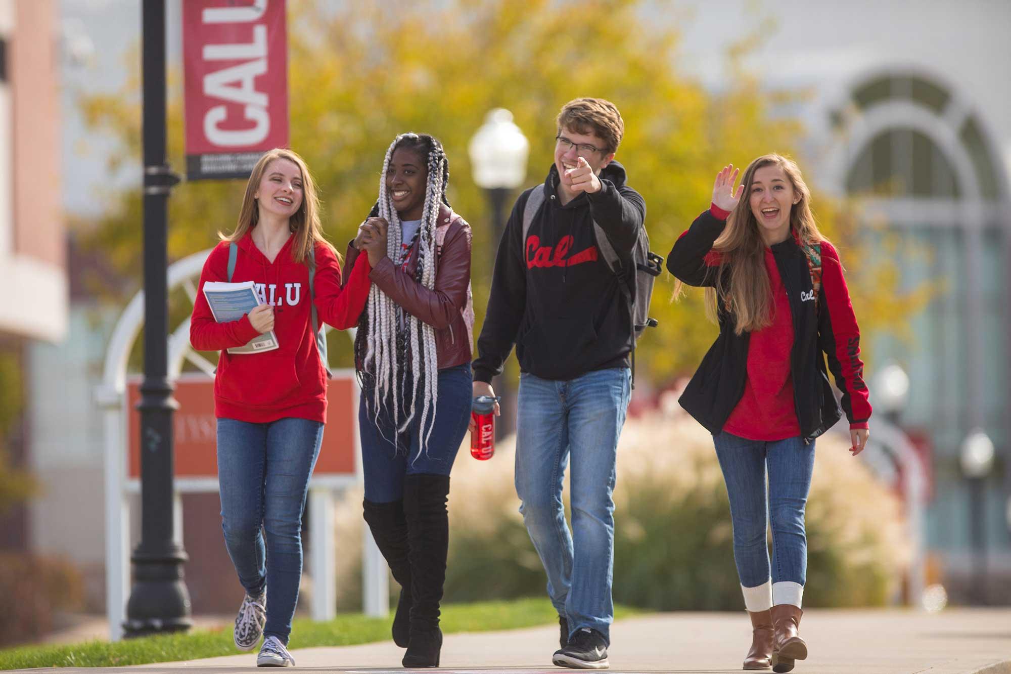Cal U students walking to class.