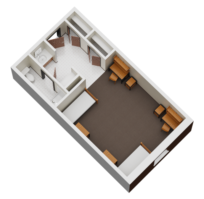 Floorplan of two-person room.