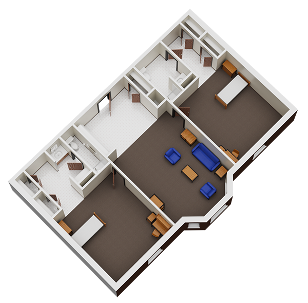 Floorplan for 2 double bedrooms with 2 bath room.