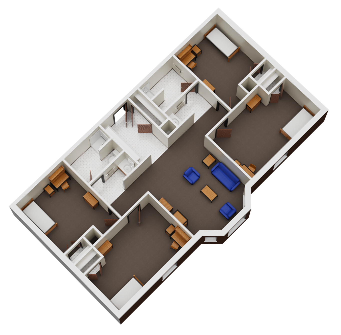 Floorplan for 4 single beds and 2 baths room.